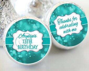 Birthday Hershey Kiss® Stickers - Birthday Hershey Kiss Stickers- Teal Blue Birthday Kiss Labels - Hershey Kiss Seals - Candy Stickers