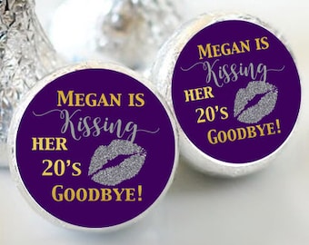 108 Kissing her 20s Goodbye  Hershey Kiss Stickers  - Birthday Kiss Labels - Kissing her 30s Kiss Labels - Birthday Party Decor - Black Gold