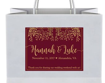 "4"" x 3""  Personalized Welcome Box Labels -  30 Wedding Welcome Bag Labels -Welcome Stickers - Box Stickers - Gold Fall Leaves with Maroon"