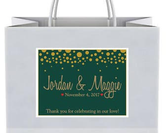 "4"" x 3""  Personalized Welcome Box Labels -  30 Wedding Welcome Bag Labels -Welcome Stickers - Box Stickers - Gold Dots Holly Green Labels"