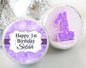 Birthday Hershey Kiss® Stickers - Birthday Hershey Kiss Stickers- 1st Birthday Kiss Labels - Hershey Kiss Seals - Candy Stickers