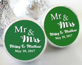 Mr and Mrs Hershey Kiss Labels - Candy Labels - Wedding Kiss Labels - Wedding Favors - Hershey® - Wedding Decor - Kiss Seals - Pack of 108