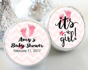 It's A Girl Baby Shower Kiss Stickers - Baby Shower Party Favors - Hershey® Kiss Stickers - Kiss Seals - Set of 108 - Baby Shower Kiss Seal