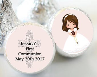 108 First Holy Communion, Kiss Stickers, Girls Holy Communion Stickers, Communion Favors, Party Favors, Candy Kiss Sticker, Pale Pink