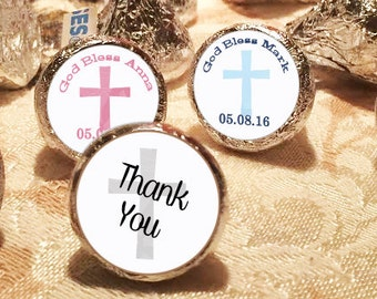 First Holy Communion, Kiss Stickers, Church Stickers, Communion Favors, Party Favors, Candy Kiss Sticker, Blue, Pink (108 stickers per page)