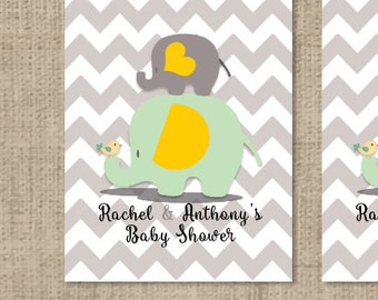 Baby Shower Yellow Grey Elephant Personalized Tic Tac Labels - Baby Yellow, Mint & Gray Chevron Labels - Baby Shower Decor - Tic Tac Labels