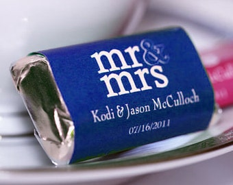 Personalized Mr and Mrs Hershey's Chocolate Wrappers - Nugget Wrappers - Nugget Candy Stickers - Miniature Candy Wrappers - Candy Stickers
