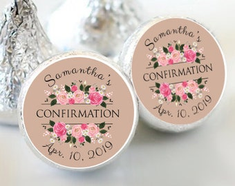 108 Confirmation Hershey Kiss® Stickers  - Communion Kiss Labels - Candy Labels - Custom Labels - Baptism Favors - Candy Stickers