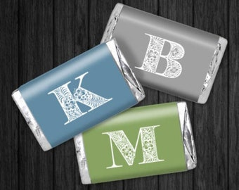 Personalized Chocolate Wrappers -  Monogram Hershey Stickers - Personalized Nugget Wrappers, Miniature Chocolate Wrappers
