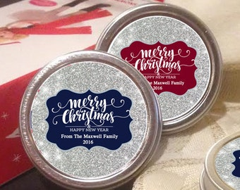 12 Personalized Silver Glitter Christmas Mint Tins Favors Happy New Year Christmas Favors  Winter Favors Christmas Decor  Stocking Stuffers