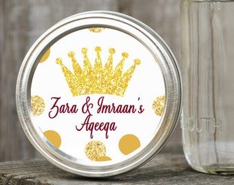 Round Mason Jar Lid Labels - Custom Crown Favors, Birthday Stickers, Goody Favor Bag, Party Bag Stickers, Baby Shower Favors, Birthday Decor