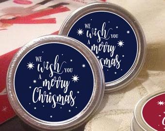 12 Personalized Christmas Mint Tin Favors - We wish you a merry christmas - Christmas Decor  - Christmas Gift Ideas - Stocking Stuffers