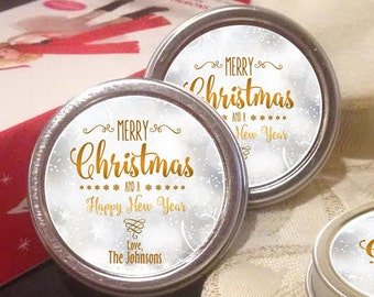 12 Personalized Christmas Mint Tins Favors - Merry Christmas and Happy New Year - Christmas Decor - Stocking Stuffers - Christmas Mints