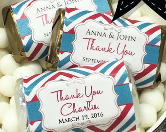 Chevron Thank You Hershey's Miniatures Chocolate Wrappers - Chevron Mini Wrappers - Wedding Decor - Personalized Wedding Favors - Wrappers