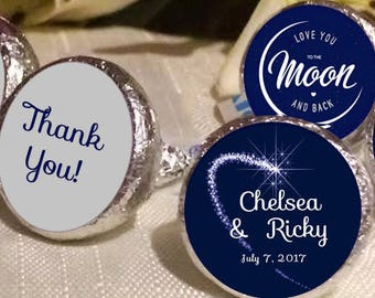 108 Hershey Kiss® Stickers - Hershey Kiss Stickers Wedding - Thank You  - Hershey Kiss Seals - Shooting Star - Love you to the Moon
