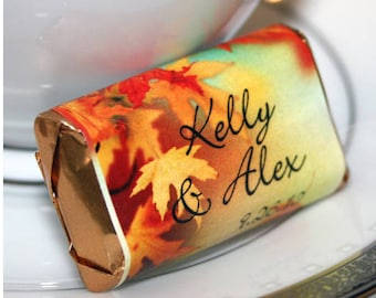 Personalized Wedding Favors - Fall Chocolate Wrappers- Nugget Wrappers - Nugget Candy Stickers - Miniature Candy Wrappers - Autumn Favors