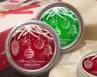 Happy Holidays Mint Tins Favors - Holiday Mints - Christmas - Christmas Favors - Holiday Party Favors - Peppermint Mint Favors
