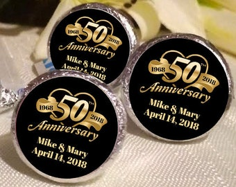 108 Hershey Kiss® Stickers - Hershey Kiss Stickers Bridal Shower - 50th Anniversary Kiss seals  - 50 years Kiss Labels  - Wedding Decor