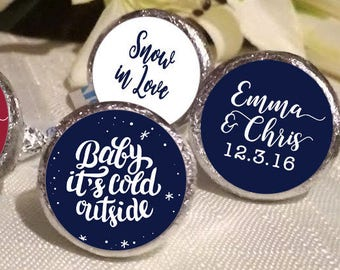 108 Baby Its cold outside Hershey Kiss® Stickers - Hershey Kiss Stickers Wedding - Hershey Kiss Labels - Snowflake -  Winter Wonderland