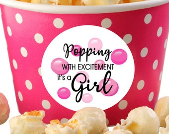 Baby Shower Popping with Excitement Personalized Round Stickers - Baby Shower Bubble Labels - Baby Shower Popcorn Stickers - Pink