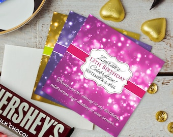 12 Large Birthday Hershey Candy Bar Wrappers - Candy Bar Labels, Candy Bar Stickers, Glow Party, Glitter, Birthday Decor, Glow Party Decor