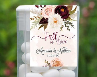 Tic Tac Labels | Burgundy Rose and Dahlia | Fall Wedding Favors |  Tic Tac Stickers | Bridal Shower Stickers | Fall In Love | Mint To Be
