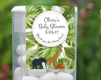 Personalized Baby Shower Tic Tac Label, 12 Jungle Party Tic Tac Stickers , Tic Tac Birthday Favors, Kids Party Favors, Tic Tac Labels