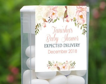 Personalized Baby Shower Tic Tac Label, 12 Baby Shower Tic Tac Stickers , Baby Shower, Baby Favors, Pink Floral Shower Tic Tac Label