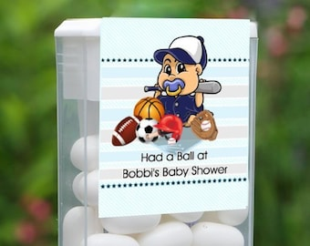 Personalized Baby Shower Tic Tac Label, 12 Baby Shower Tic Tac Stickers , Baby Shower, Baby Favors, All Star Sports Baby Shower Labels