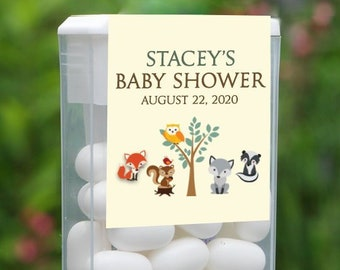 Personalized Baby Shower Tic Tac Label, 12 Baby Shower Tic Tac Stickers , Baby Shower, Baby Favors, Woodlands Baby Shower Tic Tac Label