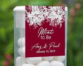 Mint To Be Tic Tac Label, Tic Tac Favors, Wedding, Bridal Shower Favors, Personalized Favor, Tic Tac Wedding Mint Favors, Winter Poinsettia