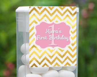 Personalized Birthday Tic Tac Label, 12 1st Birthday Tic Tac Stickers , Tic Tac Birthday Favors, Kids Party Favors, Tic Tac Labels