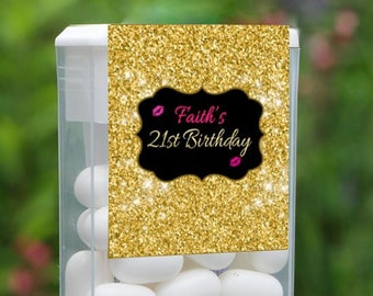 Personalized Birthday Tic Tac Label, Birthday Tic Tac Stickers , Tic Tac Birthday Favors, Kids Party Favors, Tic Tac Labels - Set of 12