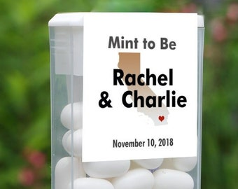 12 Mint To Be  California Tic Tac Label, Tic Tac Favors, Wedding, Bridal Shower Favors, Personalized Favor, Tic Tac Wedding Mint Favors,