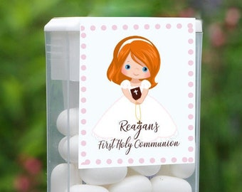 First Holy Communion and Confirmation Tic Tac Party Candy Favor Labels | Red Hair Girl | Customize the Hair and Eyes