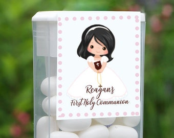 First Holy Communion and Confirmation Tic Tac Party Candy Favor Labels | Black Hair Girl | Customize the Hair and Eyes