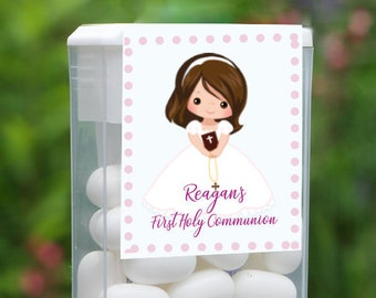 First Holy Communion and Confirmation Tic Tac Party Candy Favor Labels | Brown Hair Girl | Customize the Hair and Eyes