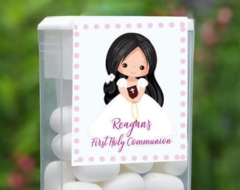 First Holy Communion and Confirmation Tic Tac Party Candy Favor Labels | Black Long Hair Girl | Customize the Hair and Eyes