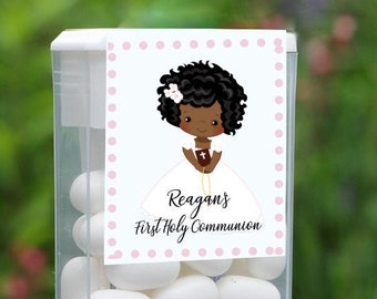 First Holy Communion and Confirmation Tic Tac Party Candy Favor Labels | African American Girl | Customize the Hair and Eyes