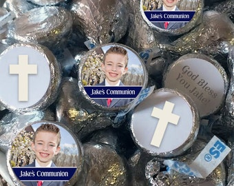 108 Hershey Kiss® Stickers - Communion Kiss Seals - Candy Labels - Wedding Favors - Hershey® Kiss Seals  - Photo Kiss Seals - Cross Seals