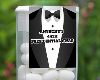 Personalized Black Tuxedo Party Birthday Tic Tac Labels (Set of 12)