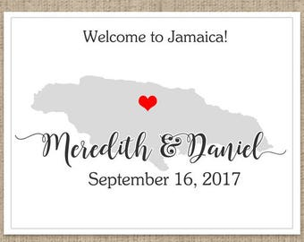"4"" x 3""  Personalized Welcome Box Labels -  30 Wedding Welcome Bag Labels - Wedding Labels - Welcome Stickers - Box Stickers - Jamaica"
