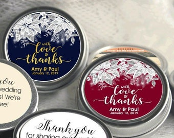 Personalized With Love and Thanks White Poinsettia Wedding Mint Tins - Christmas Poinsettia Candy Mint Tins -Winter Wedding Decor, Set of 12