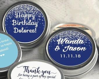 Personalized Mint Tin Favors - Wedding Mint Tins - Wedding Favors - Silver Sparkle - Wedding Mints - Personalized Tin Mints - Set of 12