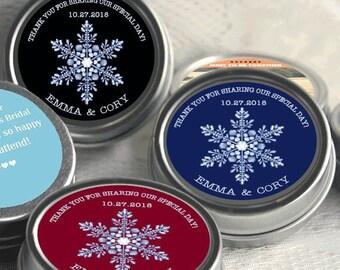 12 Personalized Wedding Mint Tin Favors - Wedding Favor Mint Tins - Personalized Wedding Favors - Winter Wedding Favors