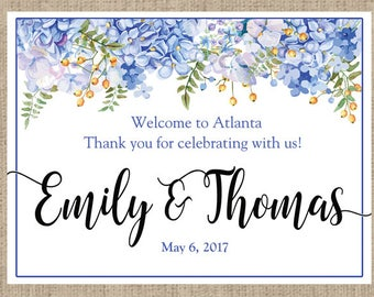 Hydrangea Personalized Welcome Box and Bag Labels - Weddings - Birthday - Bridal Shower - Baby Shower