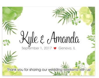 """4"""" x 3""""  Personalized Welcome Box Labels -  30 Wedding Welcome Bag Labels - Favor Labels - Welcome Stickers - Box Stickers - Green Leaves"""