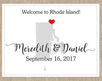 Personalized Welcome Box Labels -  30 Wedding Welcome Bag Labels - Wedding Labels - Welcome Stickers - Box Stickers - Rhode Island
