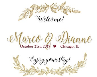 "4"" x 3""  Personalized Welcome Box Labels -  30 Wedding Welcome Bag Labels - Favor Labels - Welcome Stickers - Box Stickers - Gold Wreath"