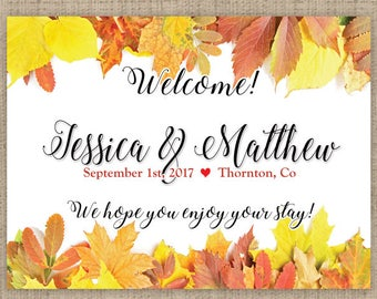 "4"" x 3""  Personalized Welcome Box Labels -  30 Wedding Welcome Bag Labels - Favor Labels - Welcome Stickers - Box Stickers - Fall Leaves"